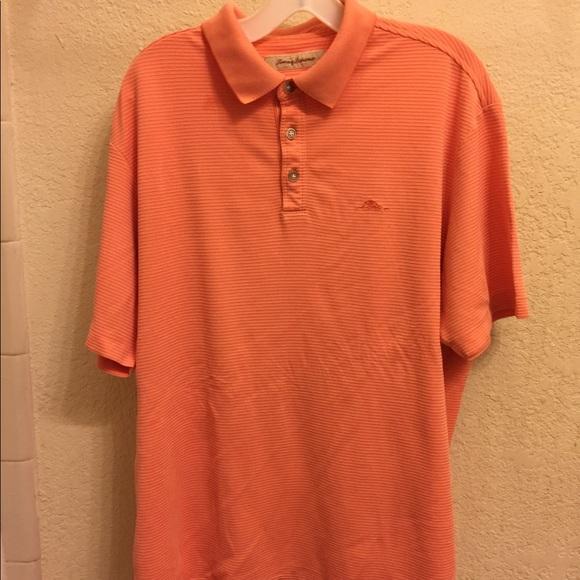 728d059d Tommy Bahama Shirts | Polo Shirt Peach Orange Cream Striped | Poshmark